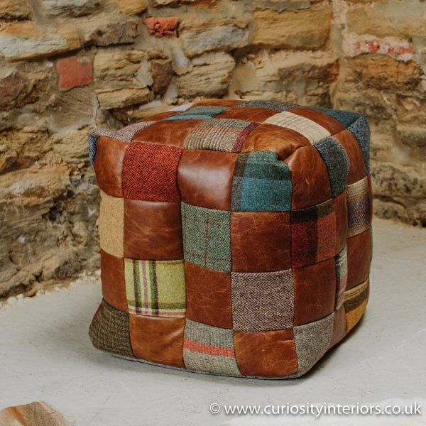 Swell Leather Tweed Patchwork Cube Bean Bag Footstool Machost Co Dining Chair Design Ideas Machostcouk