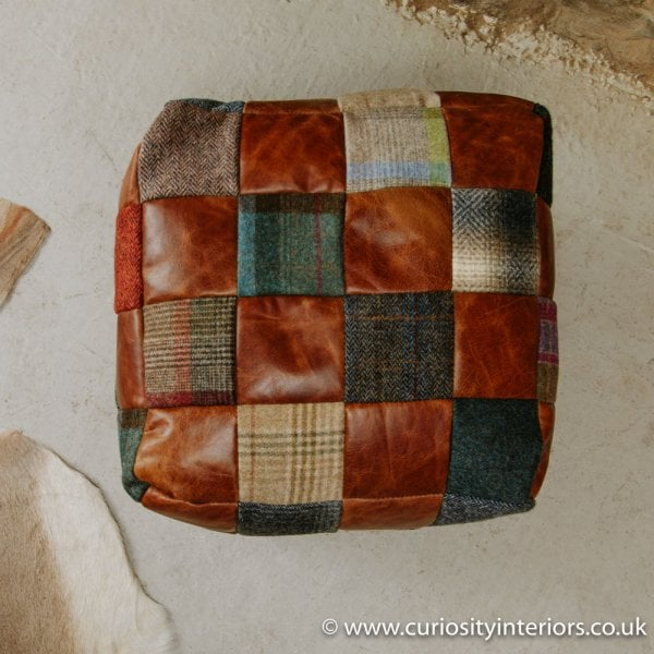 7621e3916e1c7 Leather & Tweed Patchwork Cube Bean Bag Footstool