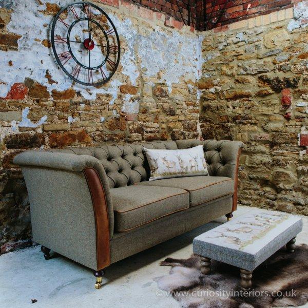 Harris Tweed Amp Leather Sofa Chesterfield Sofa