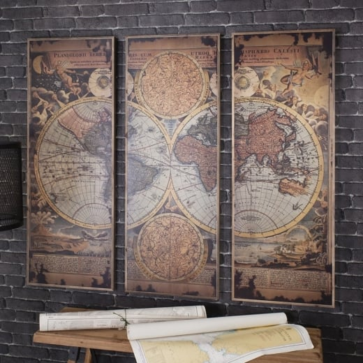 Buy leclerc world map panel artwork rustic wood atlas wall art leclerc world map trio artwork gumiabroncs Gallery