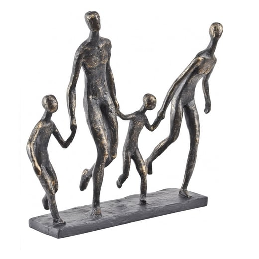 Libra Bronze Family Of Four Sculpture