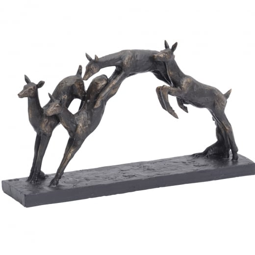 Libra Leaping Fawns Sculpture