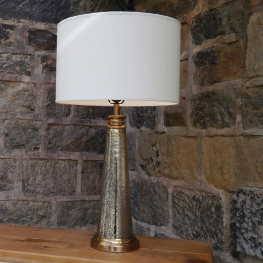 Libra Regal Antique Brass and Glass Table Lamp