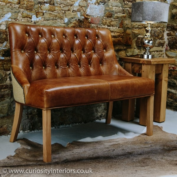 Beau Linton Leather And Tweed Dining Bench