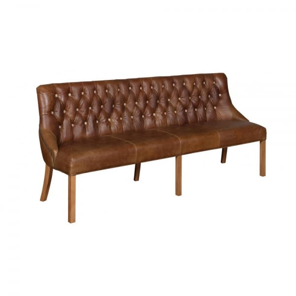 Merveilleux Linton Leather And Tweed Dining Bench