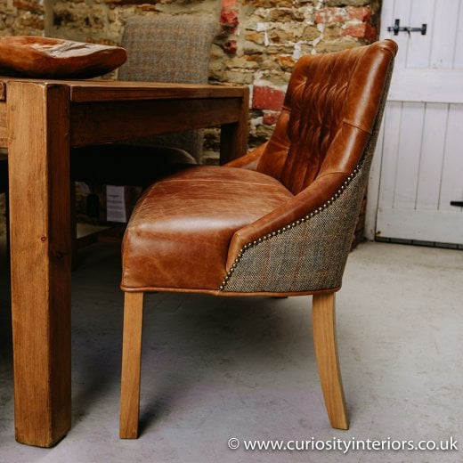 Linton Leather and Tweed Dining Bench