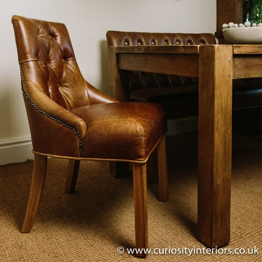 Linton Leather and Tweed Dining Chair