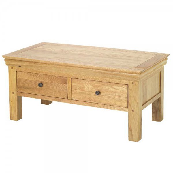Louis Oak Coffee Table With Drawers