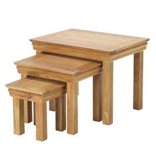 rustic oak nest of tables rustic oak home furniture. Black Bedroom Furniture Sets. Home Design Ideas