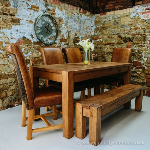 Lumber Plank Table Amp Hide Leather Chairs From Curiosity