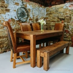 Lumber 6ft Plank Table & Hide Leather Chairs Dining Package