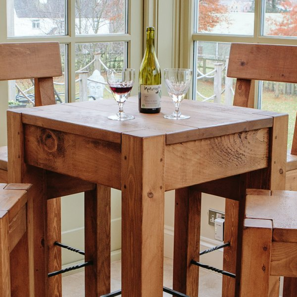 lumber plank bar table u0026 stools dining package
