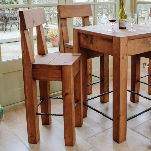 Table Stool: Lumber Plank Bar Table & Stools Dining Package