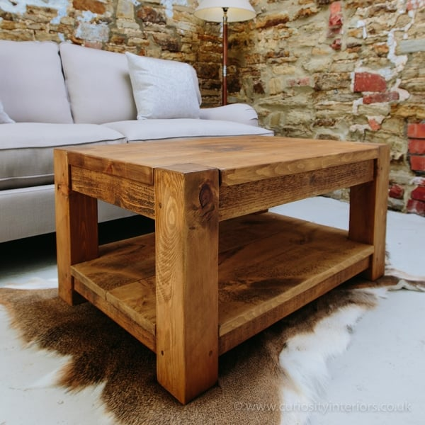 Lumber Plank Coffee Table With Shelf