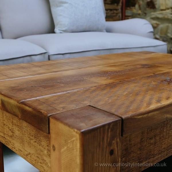 Curiosity Interiors Lumber Plank Coffee Table With Shelf