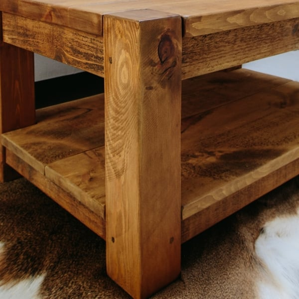 Rustic lumber plank wood coffee table from curiosity interiors for Wood plank top coffee table