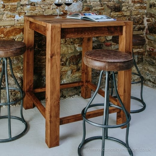 Lumber Plank Table & Durham Leather Bar Stool Package