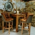 Lumber Plank Table & Jasper Leather Bar Stool Package