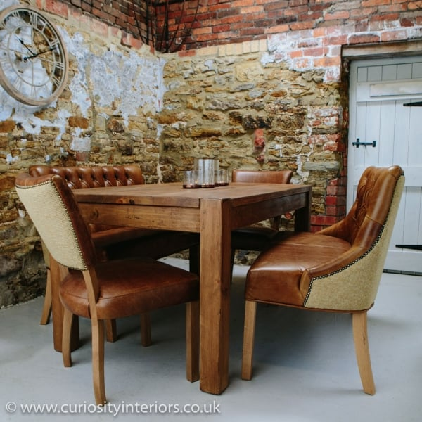 Plank Wood Dining Table Leather Chairs Set From Curiosity Interiors