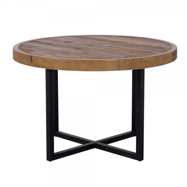 Round Industrial Dining Table, Wood Table Round