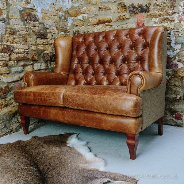 Leather sofa tweed leather sofas curiosity interiors for Leather and tweed sofa