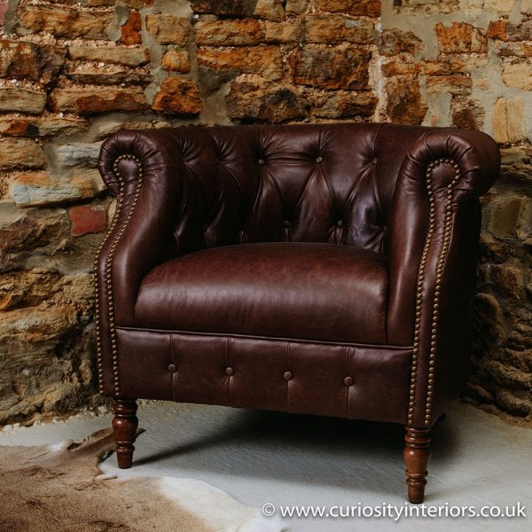 Leather Tub Chair Chesterfield Tub Chair Curiosity Interiors
