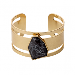 Gold Plated Grey Stone Statement Cuff