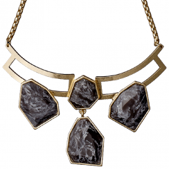 Gold Plated Grey Stone Statement Necklace