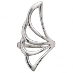 Winged Silver Plated Adjustable Ring