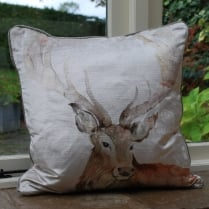 Stag Velvet Print Cushion