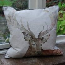 Stag Linen Print Cushion
