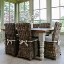 Chunky Hardwick Table & Rattan Chairs Dining Package