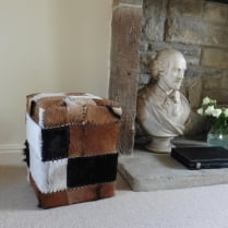 Cube Patchwork Hide Footstool