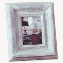 Distressed White Stepped Photo Frame