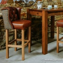 Duke Winged Leather & Tweed Bar Stool