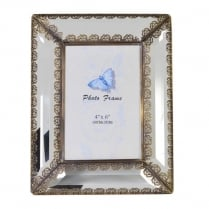 Glass Photo Frame with Bronze Rose Detail