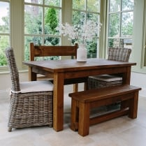 Haddon 5ft Plank & Rattan Chairs Dining Package