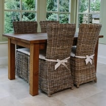 Haddon Plank Table & Rattan Chairs Dining Package