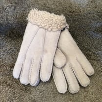 Hand Stitched Sheepskin Gloves in Cream