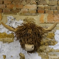 Highland Cow Wooden Wall Sculpture