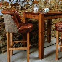 Jasper Leather & Harris Tweed Bar Stool