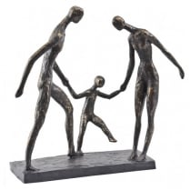 Bronze Family Of Three Sculpture