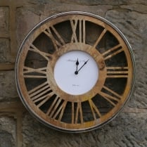 Round Wooden Ghost Wall Clock