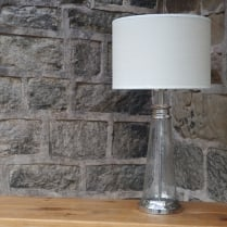 Small Glass Table Lamp with a Linen Shade