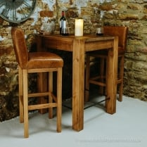 Lumber Plank Bar Table & Rushcliffe Leather Stools Package