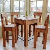 Lumber Plank Bar Table & Stools Dining Package