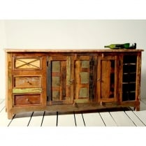 Riya Upcycled Large Sideboard with Wine Rack
