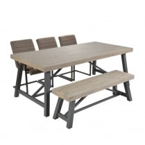 Ruan Industrial Large Dining Table With Framed Chairs and Bench
