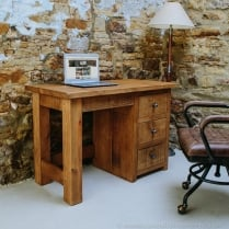 Sherwood Plank Single Pedestal Desk/ Dressing Table
