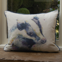 Badger Linen Print Cushion
